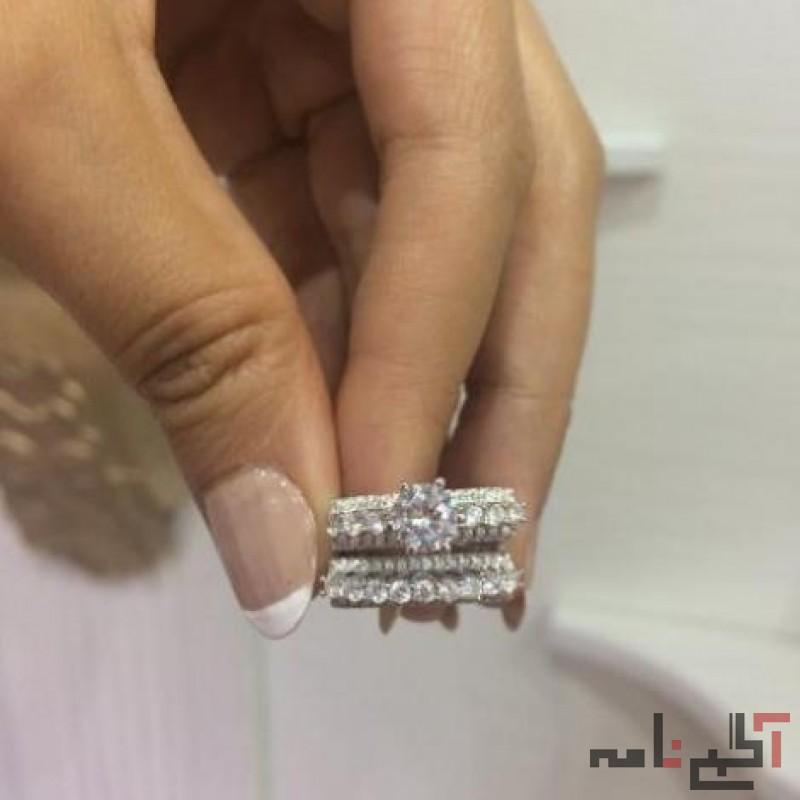 حلقه و پشت حلقه نقره عیار 925 زیورآلات الماسین