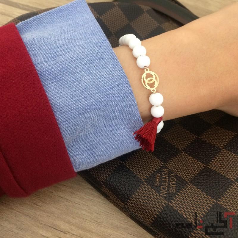 دستبند مهره ای با پلاک طلا