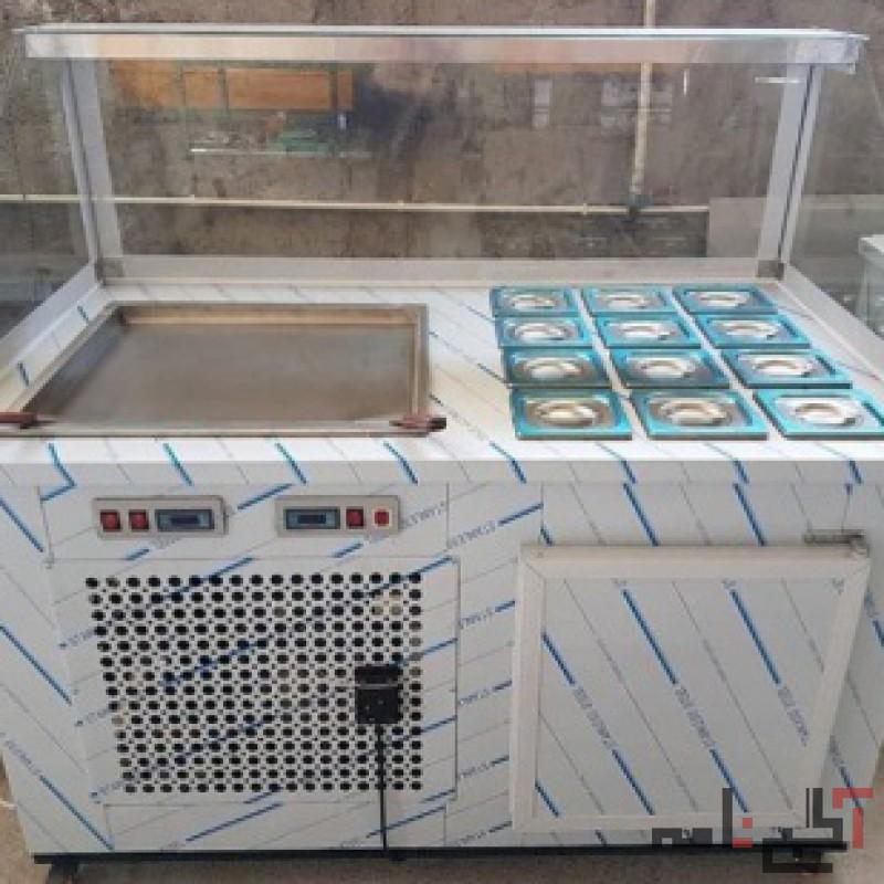 دستگاه بستی رولی - بستنی تایلندی صفحه سرد - سنگ سرد و بستنی بشکه ای و خمره ای چوبی میوه یخی و